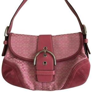 Coach Pink Jacquard Fabric Shoulder Bag